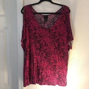 Torrid animal print cold shoulder tee
